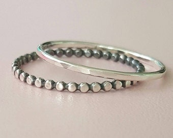 Sterling Silver Rings - set of 2 - Thin Stackable Rings