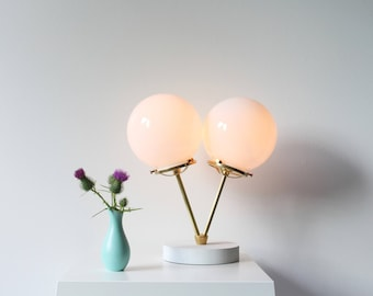 Table Lamp Modern Industrial Brass Desk Lighting Fixture 2 Twin White Glass Globes Free Shipping