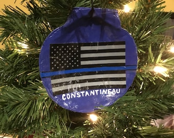 Police Officer Gift. Thin Blue Line Ornament. Police Officer Ornaments, Personalized Ornament. Peacemakers Ornament. Valentines Gift for Him