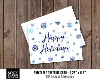 Printable Card, Christmas Card PDF, Blue Snowflake Card, DIY Card Kit, Happy Holidays Card with diy Envelope, Greeting Card, SKU RGC129BLUE