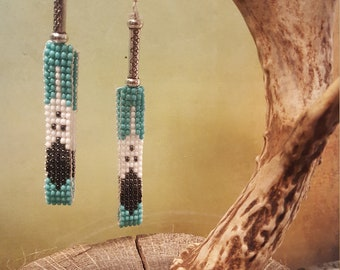 Hand beaded Golden Eagle Colorful Earrings