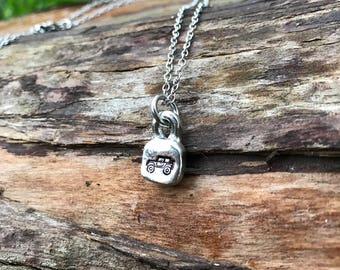 Hand Stamped pewter Jeep necklace - grandmother - mother - adoption