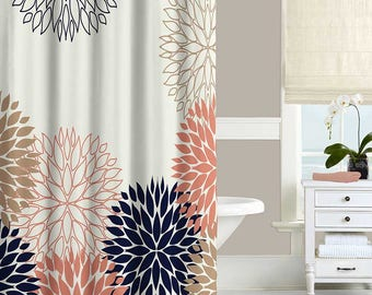 Floral Shower Curtain, Coral Pink, Navy Blue, Gold, White Bath Curtain,