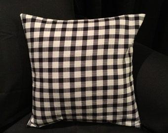 Black & Gray Plaid Pillow Cover