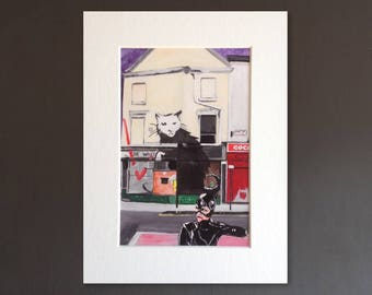 CATWOMAN wall art - giclee print of 'Banksy Robber' painting by Stephen Mahoney - Catwoman and Banksy's Rat - Liverpool street art
