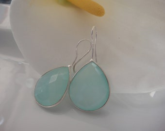 Sea Green chalcedony,925 silver Bezel set faceted Sea green chalcedony, earrings, jewelry,Gemstone earrings,teardrop chalcedony earrings