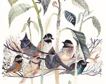 Chickadees and Avocado Tree -Large Archival Print