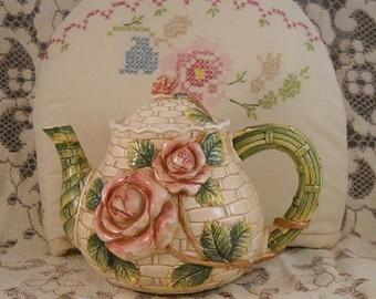 Tea Cozy Soft Pastels Vintage Cross Stitch Shabby Cottage Chic