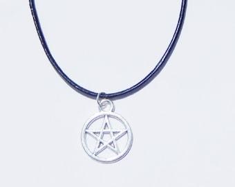 Pentacle Necklace, Pentagram Necklace, Pentacle Choker, Pentagram Choker, Charm Choker, Pentagram Charm Choker, Pentacle Charm Choker