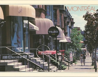 Vintage 1980s Postcard Montreal Quebec QC Canada Rue Crescent Street View Summer Downtown City Card Photochrome Postally Unused