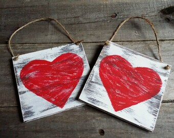 Distressed Rustic Wooden Heart Signs Valentines Decor Grungy Primitive Wooden Valentine Signs Wooden Heart Door Hanger Set of 4 & Heart door hanger | Etsy