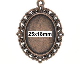 10 pcs. Antique Copper Oval Pendant Picture Photo Frame Bezel Setting Pendants Charms - 25mm x 18mm Glue Pad for Cabochons - 25x18mm