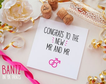 Wedding Day Card - Congrats To The New Mr & Mr