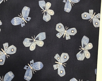 Blue Fabric - Dear Stella Honeybee - Navy Butterflies