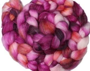 Petunia - hand-dyed superwash Merino, bamboo, nylon (4 oz.) combed top
