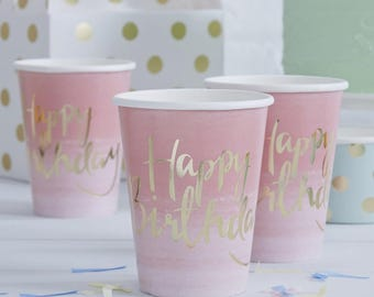 Happy Birthday Cups - Coral Ombre & Gold Party - Birthday Party - Girls Party - Pink Birthday - Pink Party - BBQ - Tablewear - Decoratuions