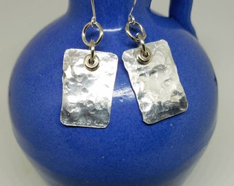 Handcrafted, Hammered. Aluminum and Silver Earrings