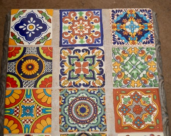 9 Talavera Tiles  Mixed 4x4""