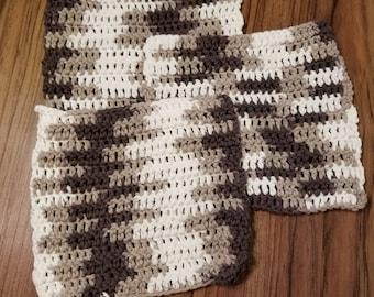 Set of 3 Brown Handmade Washcloth Set- Hand- Crocheted Washcloth- Face Cloth- 100% Cotton Washcloth- Handmade Washcloth- Crocheted Washcloth