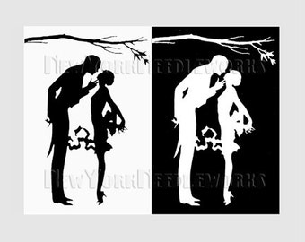 Art Deco Cross Stitch Couple Silhouette, Silhouette Pattern, Art Deco, Cross Stitch, Needlepoint, Silhouette from NewYorkNeedleworks on Etsy