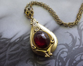 Art Nouveau ~ Garnet Locket Necklace ~ Vintage Locket ~ Small ~ Marsala Burgundy ~ January Birthstone ~ by LadyofTheLakeJewels