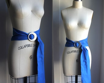 "Blue and Silver Cotton Belt adjustable up to 42"" long"