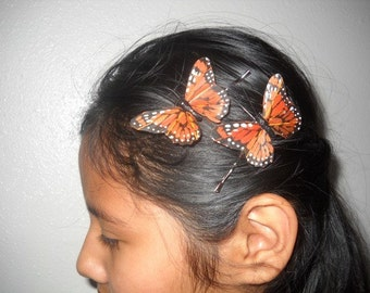 ORANGE MONARCH - A Set Of 2 Feather Butterflies On Bobby Pins, Hair Clips, Bridesmaids,Spring,  Weddings, Easter , For her