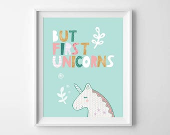 Bedroom decor, unicorn print, playroom wall art quote, unicorn wall art, playroom quote, kids nursery print, kids room decor, nursery art