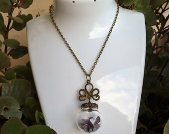 Dome Necklace: protection of the fairies (genuine Amethyst.)