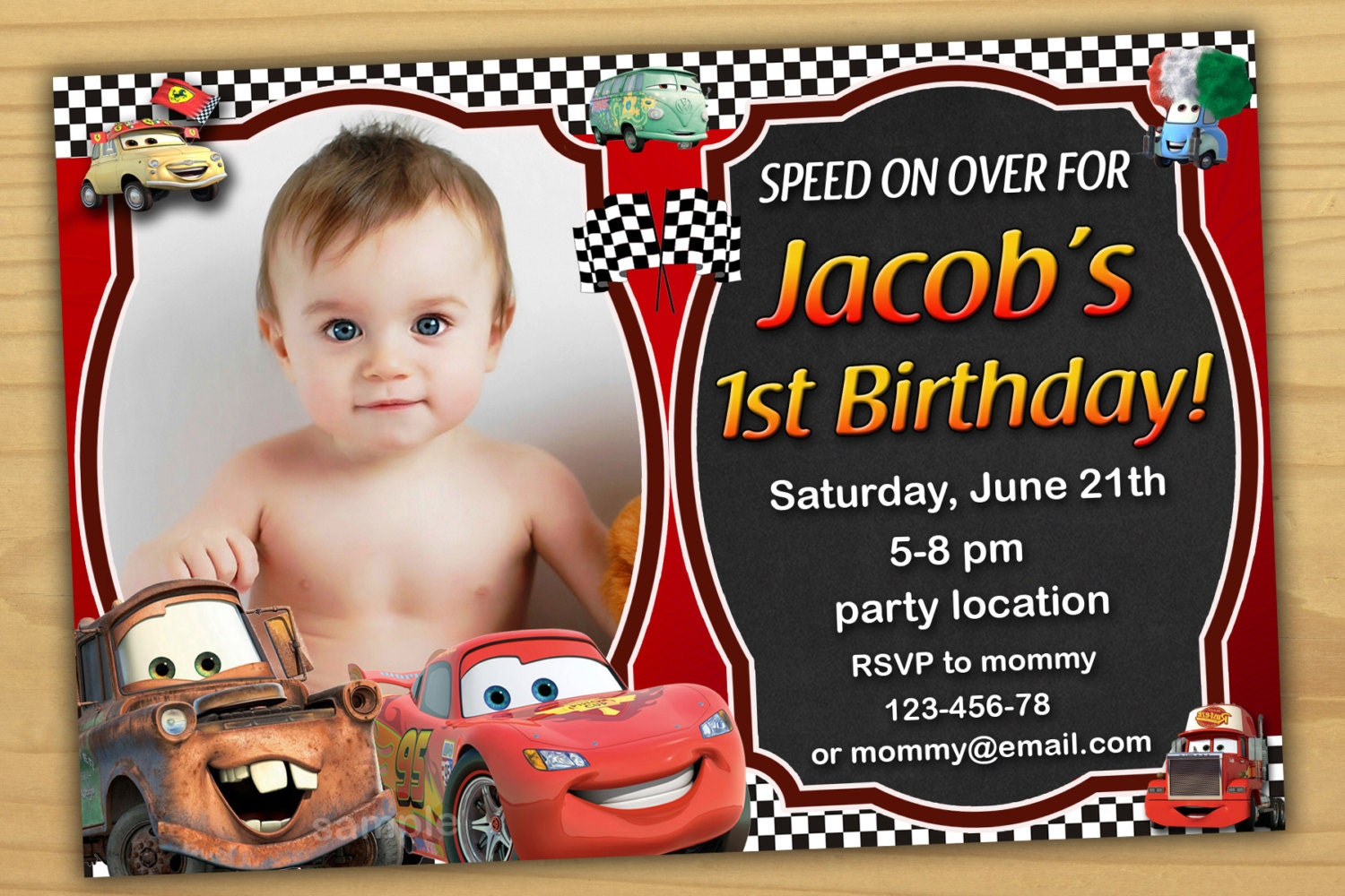 SALE Disney Cars Birthday Invitation Disney Cars invitation