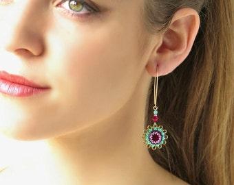 Long dangle earrings, Red crystal earring, Gold flower earring, Turquoise & red, Floral earring, Crystal dangle earring, Long beaded earring