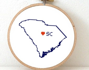 SOUTH CAROLINA Map Cross Stitch Pattern. South Carolina art pattern. South Carolina ornament pattern with Columbia. SC decor. Wedding gift.