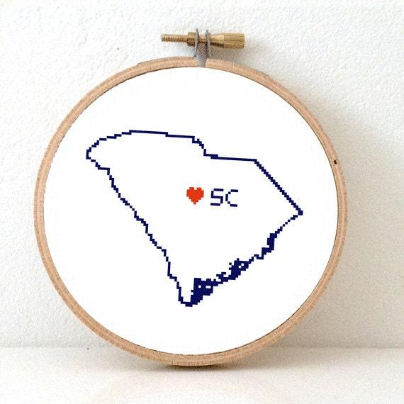 SOUTH CAROLINA Map Cross Stitch Pattern. South Carolina Art