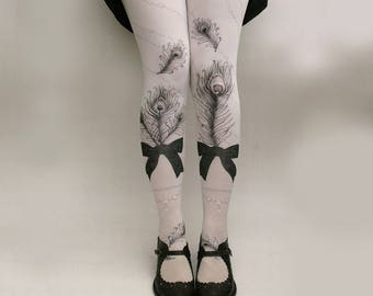 JEWEL FEATHER Illustrated Tights All Colours