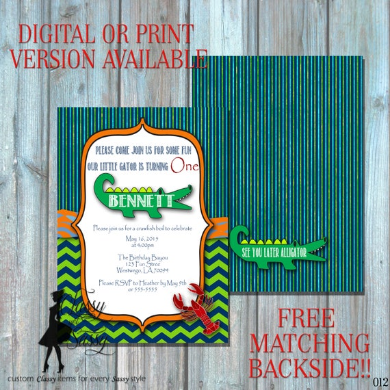 Alligator Birthday Invitation, Crawfish Invitation, Swamp Theme Invitation,  012