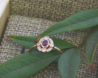 18K solid gold ruby and diamond art deco ring