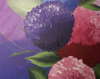 Whimsical Purple Blue And Berry Hydrangeas On Canvas Wall Art.