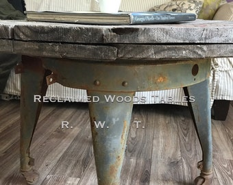 Reclaimed wood spool coffee table / metal wash stand coffee table / rustic farmhouse /cable reel / industrial metal base / FREE USA SHIPPING