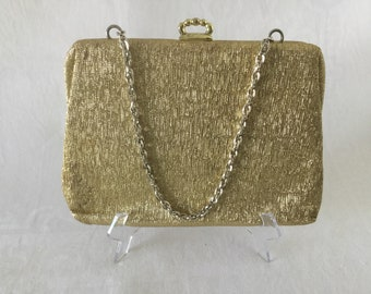 Vintage Faigen Gold Lame Evening Purse / Bag 1960's  #20085