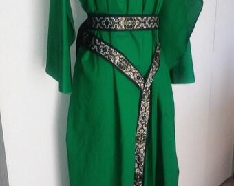 Butterfly Underdress in Green Cotton, Butterfly Sleeves, Kirtle, Under Dress