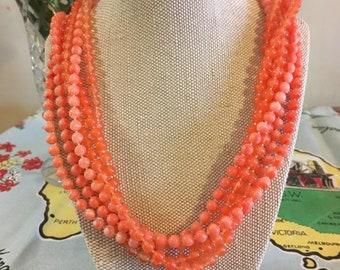 1950s multistrand beaded bib necklace.
