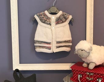 Hand Knitted Baby Girl Short Sleeved Cardigan