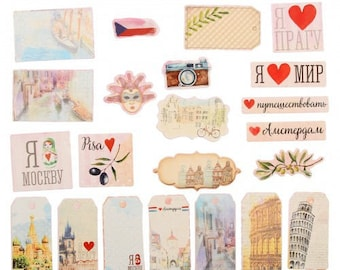 Set of die-cuts I love travels I love to travel