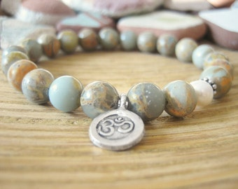 Om Bracelet - Aqua Terra Jasper Bracelet, Variscite Beads, Beach Pearl and Silver Om Charm, Yoga Bracelet for Hope, Peace and Calm