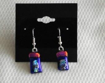 Purple Dichroic Earrings-Purple Glass Earrings-Purple Dichroic Jewelry-Purple Jewelry-Purple Earrings