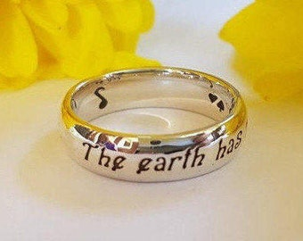 Shakespeare Ring, Shakespeare Quote, The Earth has Music, quote ring, Personalized ring, 925 sterling silver, Earth, Music, Energy, Handmade