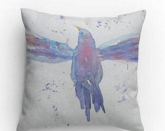 Bird Pillow, Decorative Pillow, 14x14 in, Throw Pillow, Bird Design, with Pillow Insert