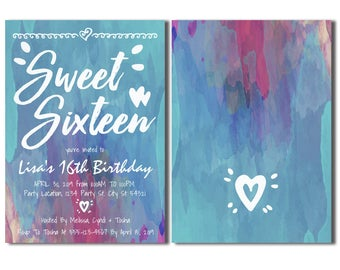 Sweet Sixteen, Watercolor Invitations.