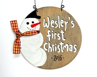 Baby Keepsake, Baby first Christmas ornaments, Baby first Christmas tree decor, Custom name pallet, Personalized Baby gifts, Snowman decor