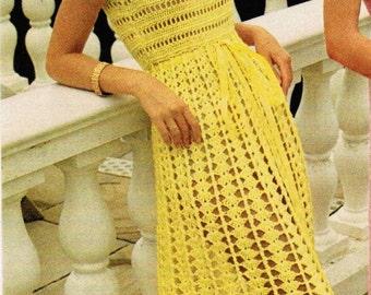 1970s Long Sleeveless Empire Waist Dress PDF Crochet Pattern